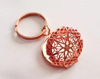 Rose Gold Locket Keychain, Round Filigree Locket Key Ring, Valentine Gift, Gift For Her, Rose Gold Copper Keychain, Rose Gold Filigree