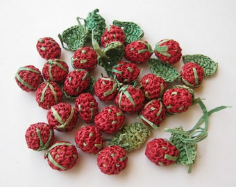24 Vintage 50s Woven Straw Fruit Salad Cherries Red & Green Cherry Millinery Accents