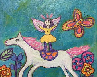 Fairy on Horseback Original Acrylic Painting - Whimsical Pony - whimsical horse - Faerie Faery Laura Tompkins Folk Art Free Shipping - Horse