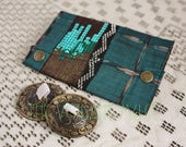 Small Assuit Zils Pouch- Teal and Copper Cotton Ikat Print Scrap and Sequin Trim Bellydance Finger Cymbals Bag