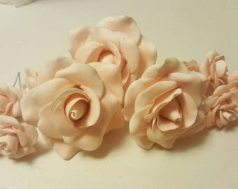 Gumpaste Blush Rose Cake Topper for Wedding, Anniversary, Bridal Showers, Birthday Cakes