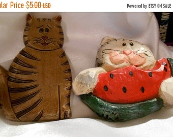 50% OFF SALE Two resin hand painted cat brooches one signed Eddie