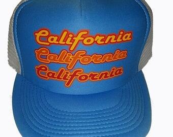 Triple California Script Mesh Trucker Hat Cap Snapback