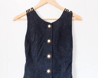 Women's leather danier dress / vintage / extra small / criss cross back