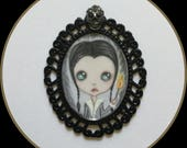 Original miniature art Wednesday Addams lowbrow skull
