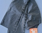 Black Leather Pants Women's Vintage Harley Davidson SIZE 12 Motorcycle Biker Hook and Eye Detail on Flared Leg NEVER WORN with Tags