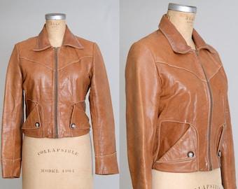 1970s Caramel Leather Jacket Two Pocket Cropped Moto Jacket