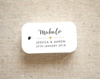 Mahalo Hawaii Wedding Favor Tags - Destination Wedding Personalized Gift Tags Bridal Shower Tag Thank you tags - Set of 40 (Item code: J633)