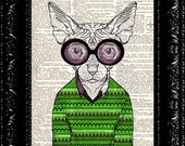 Geeky Sphinx Cat In Goggles, Dictionary Print, Animal Cat Funny poster, Book page, Upcycled Book Page, Gift, Dorm home wall decor