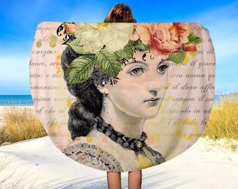 "Lina Cavalieri Round Beach Towel, Floral Boho Shabby Chic, Beach Towel, Circle Beach Towel, Beach Blanket, 60"", Picnic Blanket, Round"