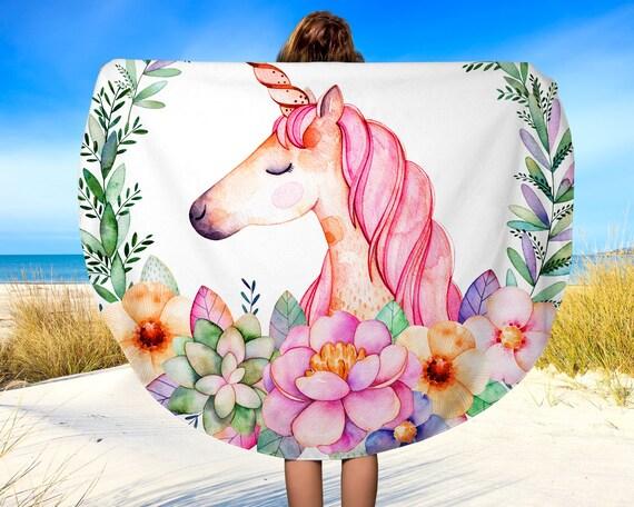 Unicorn Flower Design Roundie Towel Round Beach Towel