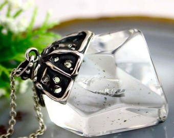 Quartz Pendant Statement Pendant Sterling Silver Jewelry