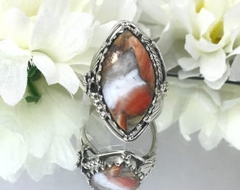 Nice Spiny Oyster Sterling Ring, Orange, White, Grey, Copper Stone Ring. Size 6.5 Bohemian Rings, Southwest 925 Navajo Style Ring. Detailed.