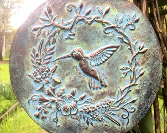 Concrete Hummingbird Plaque