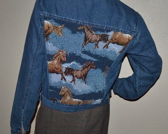 Vintage Adobe Rose Denim Tapestry Horse Jacket women jean Western running horses jacket 2 Pocket Made in India  Size M