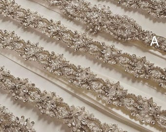 Luxury rhinestone trim with silver thread base for wedding gown accessories, bridal sash, wedding garters, bride to be