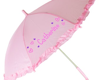 Girls Personalized Umbrella Hand Painted Parasol Custom Pink White Lavender childrens Umbrellas ruffles flower girl parasols rain UMBR-pin