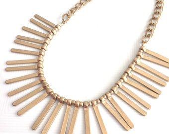 Gold Bib Necklace, Boho Necklace, Gold Bar Necklace, Gold Fringe Necklace, Gold Statement Necklace, Matte Gold Necklace