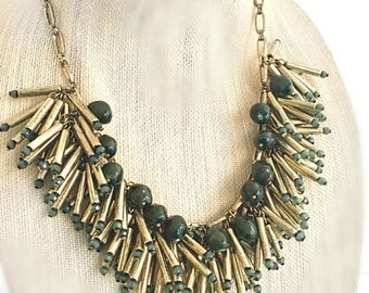 Green Statement Necklace, Safari Stickler Statement Necklace Army Green and Gold