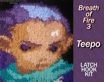 Breath of Fire 3 Teepo - Latch Hook Kit - DIY Latch Hook 11.5*14.5 Inches