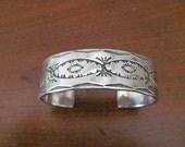 Vintage Sterling Silver Navajo Cuff Bracelet Hand Stamped 66 Grams SIGNED H