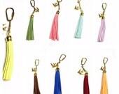 Faux leather key Chain/Purse charm, gold tone, dove charm, Clearance Sale, Item No. de316