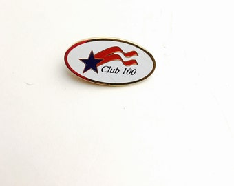 Club 100 Lapel, Gold Tone & Enamel, Vintage Collectable pin, Item No. B817
