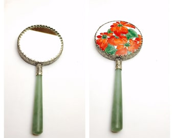 Vintage Asian Hand Mirror, Jade Handle, Silver Plated, Painted Porcelain, Clearance Sale, Item No. M111