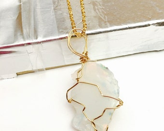Large Ethiopian opal pendant, gold plated wire, hand made, Clearance Sale, item no. S251