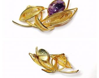 Vintage filigree leaf brooch, Amethyst, gold tone, Clearance Sale, item No. B431