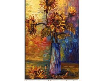 Art on canvas sunflowers in a vase interior Decor Paula Nizamas Ready to hang print