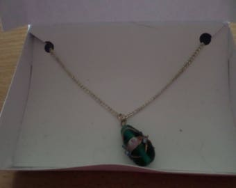 Turquoise blue glass necklace
