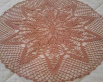 Copper Mist table topper, doily, centerpiece