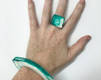 Green and White Marbled Resin Cuff Bangle
