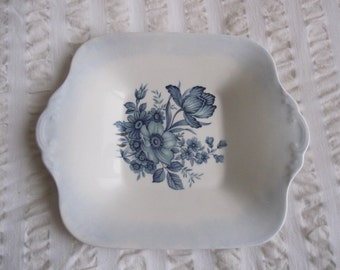 Hand painted and decorated with vintage decal, blue wedgwood plate