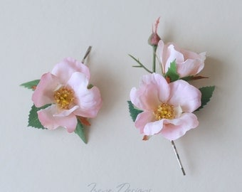 Briar rose floral bobby pin set. Headpiece with light pink flowers and green leaves