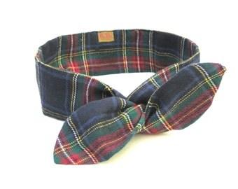 Plaid Head Wrap, Wire Headband, Kid Dolly Bow, Bandana, Hair Accessories, Tween Hair Tie, Hairband, Hair Wrap, Holiday Gift, Ready To Ship