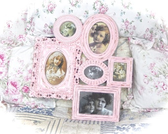 Shabby Ornate Rose Petal Pink Distressed Multi Photo Picture Frame Holder Collage Fancy Posh Ornate Cottage Chic READY TO SHIP