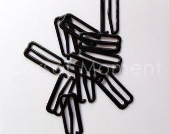48 * Black Metal Bra Hook Suspender Clip Garter Belt Clasp Lingerie Making 25mm Wide