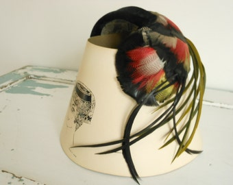 Vintage Feather Cloche Fascinator Hat with Black Velvet Band