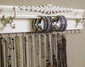 "Shabby Chic style Jewelry Organizer.15 Hooks for necklaces. 20"" bracelet bar. Bedroom or closet organization /storage"