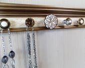 Necklace rack U CHOOSE 5,7 or 9 KNOBS . Bronze & champagne wall hung jewelry storage. Great gift jewelry organizer with bling. May add hooks