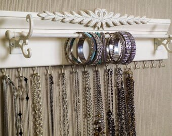 "Shabby Chic style Jewelry Organizer.15 Hooks for necklaces. 20"" bracelet bar. Bedroom or closet organization /storage"