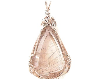 Handmade Sterling silver and Gold Rutilated quartz pendant - Statement pendant