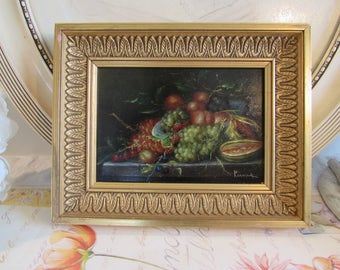 Antique/vintage French original oil painting of fruit.  Signed