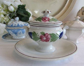 Hand Painted Vintage French Faience Mustard Pot.