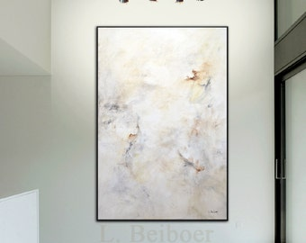 40 x 60 Large modern abstract painting contemporary canvas abstract acrylic fine art white office painting wall art by L. Beiboer