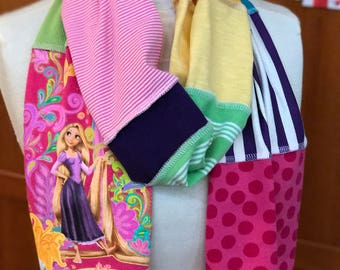 UPCYCLED t-shirt scarf ...  Rapunzel ... Tangled ... Disney World ... pink, lime green, pink, purple