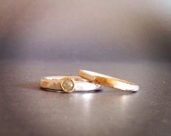 Diamond Ring - Rose Cut Diamond Ring in 9 Ct Gold Setting -  Silver and Gold Band