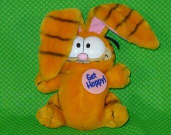 Vintage Dakin Easter Bunny GARFIELD Plush- Get Hoppy Garfield Plush-Vintage 80's Garfiled Plus-Dakin Garfield Stuffed Animal-Garfield Cat